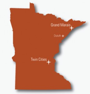 Map of the state of Minnesota showing Grand Marais, Duluth and Twin Cities
