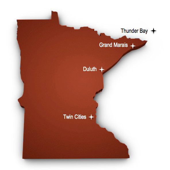 Map of the state of Minnesota showing Grand Marais, Duluth and Twin Cities. It also shows Thunder Bay, Ontario Canada