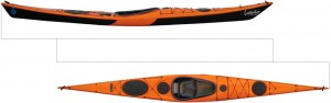 Side and top views of a Maelstrom Vaag kayak