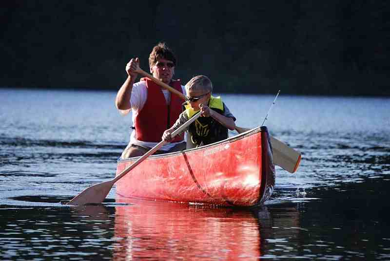 Picture of a man and a boy paddling a canoe