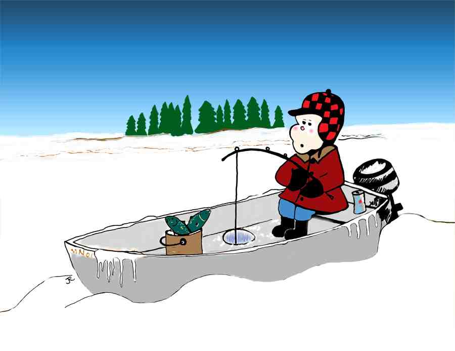 Drawing of fisherman in a motor boat on a snow-covered lake.
