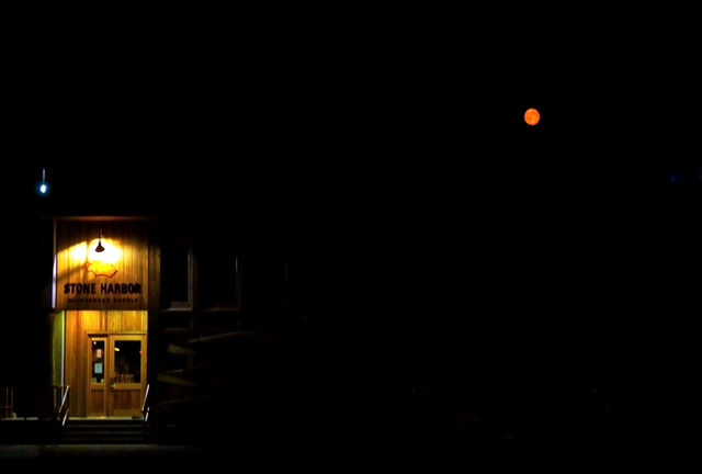 Red Moon Over Stone Harbor Wilderness Supply Store