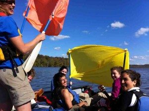 Picture of high school students having fun on canoes