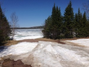 Picture of Elbow Lake near Grand Marais, MN. There is quite a bit of snow still on the lake.