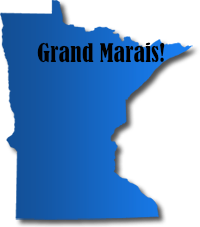 Blue graphic of the state of Minnesota showing the location of Grand Marais