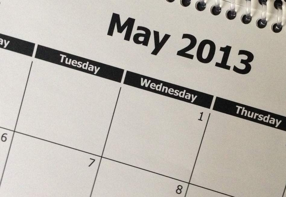 Picture showing part of a May 2013 calendar page