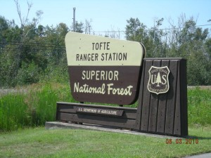 Picture of the Superior National Forest sign at the Tofte Ranger Station