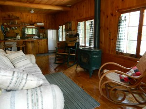 Picture of the interior of one of the Trail Center Lodge cabins