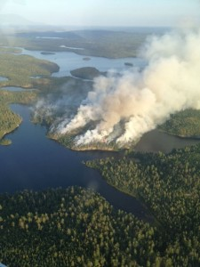 Picture of fire on the south arm of Knife Lake, August 2013