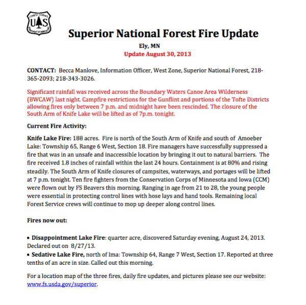 Image of the Superior National Forest Fire Update dated August 30, 2013