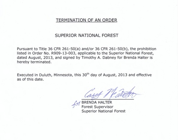 Image of Termination Order R909-13-003