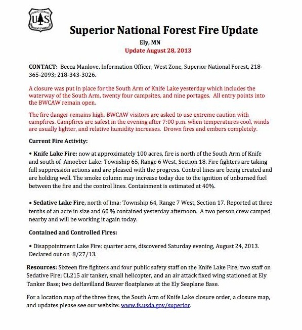 Superior National Forest Fire Update date August 28, 2013