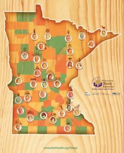 """A picture of """"Minnesota Writers on the Map,"""" which displays the state of Minnesota with caricatures of Minnesota literary greats"""