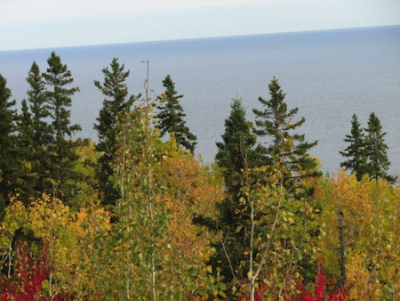 Picture of Lake Superior with autumn trees in the foreground