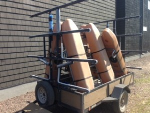 Picture of kick boats loaded on a trailer