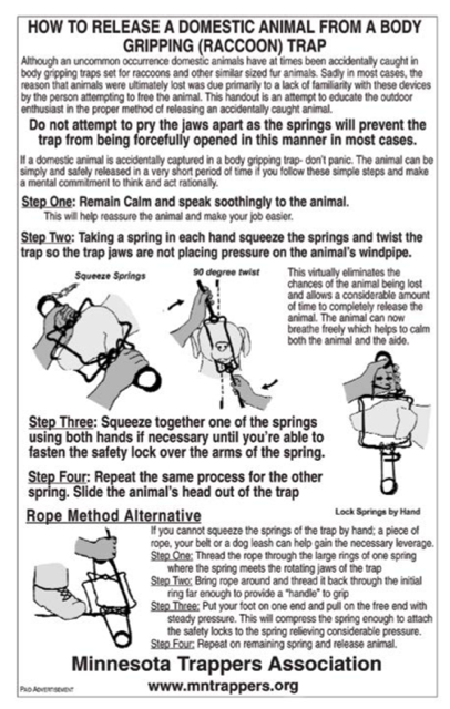 A diagram showing how to release a domestic animal from a body gripping trap
