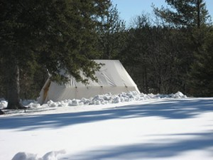 Picture of a Snowtrekker winter tent with snow all around