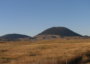 picture of a field with hills in the distance in Montana