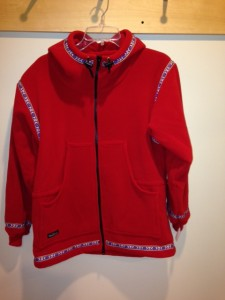 Picture of a red Wintergreen full-zip hoodie with front pockets