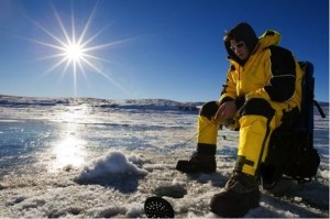 Picture of a person ice fishing