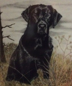 picture of a painting of Jack's dog, Rocky.