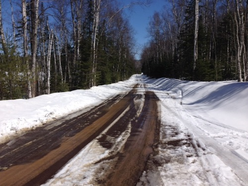 A picture of Trout Lake Road. You can see the road, although there is quite a bit of snow on the side of the road and some snow on the road itself.