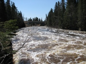 Picture of the Brule River. You can see the current is moving very quickly.