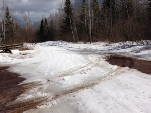 Picture of the road leading to the Elbow Lake landing. You can see a little of the road underneath but mainly you see snow and trees.