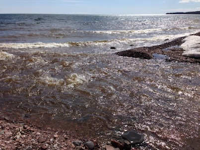 Picture of the spot where the Kadunce River flows into Lake Superior
