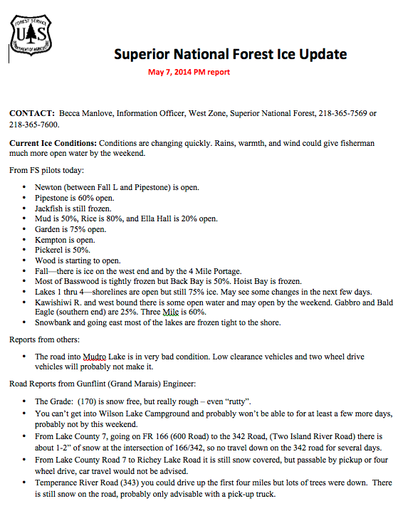 Superior National Forest Ice Update 05 07 14