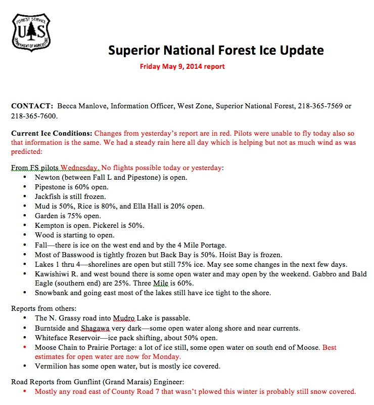 Superior National Forest Ice Update 05 09 14