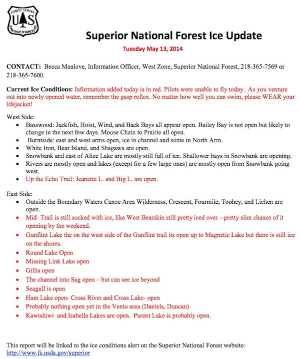 Superior National Forest Ice Update 05 13 14