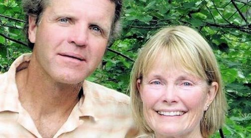 Headshot picture of Wintergreen founders, Paul and Susan Schurke, with green tree leaves in the background