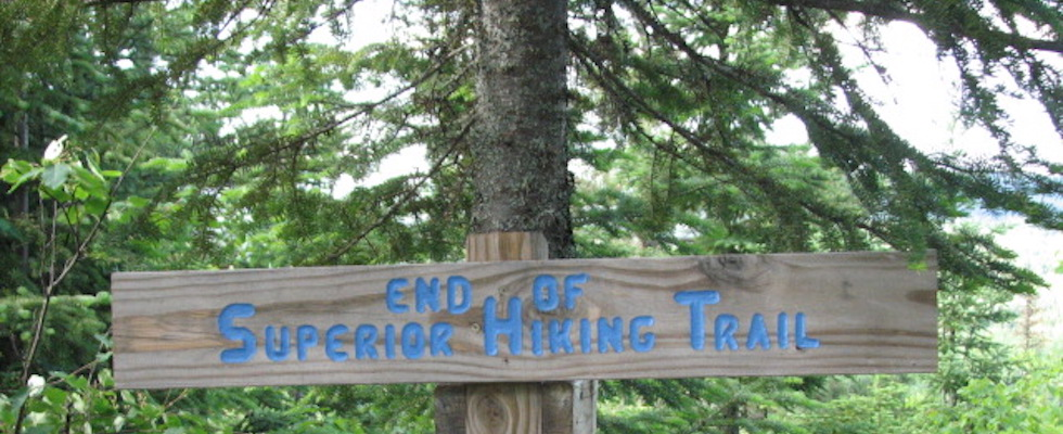 Picture of sign at the end of the Superior Hiking Trail
