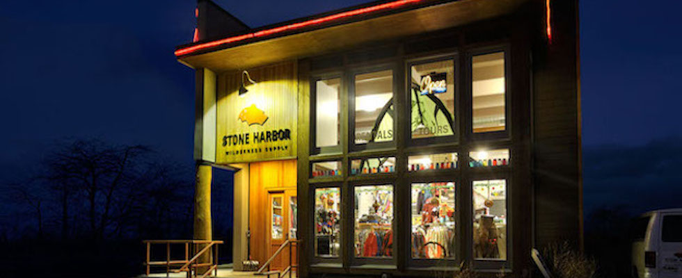 Picture of Stone Harbor Wilderness Supply store in winter at night