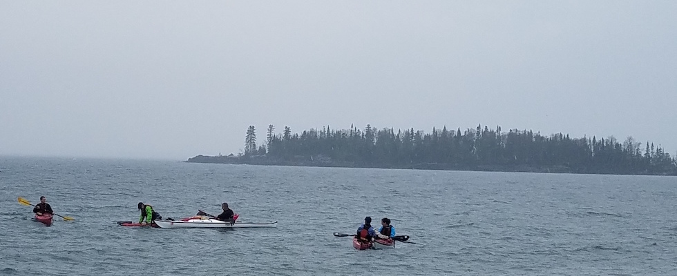 Picture of kayak guides getting safety training
