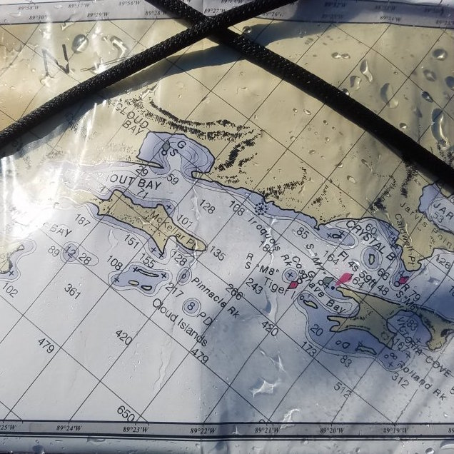 picture of a map of Little Trout Bay on a kayak