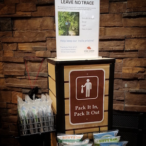 Picture of our Biffy Bag display for disposing of human feces while hiking