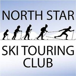 North Star Ski Touring Club logo, depicting sinhouettes of people of various sizes and abilities cross-country skiing