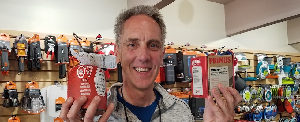 Picture of Kris holding a Primus Micron Trail Stove