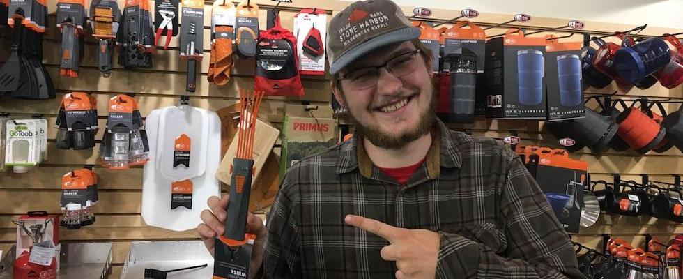 Picture of Collin holding a GSI Collapsible Wisk