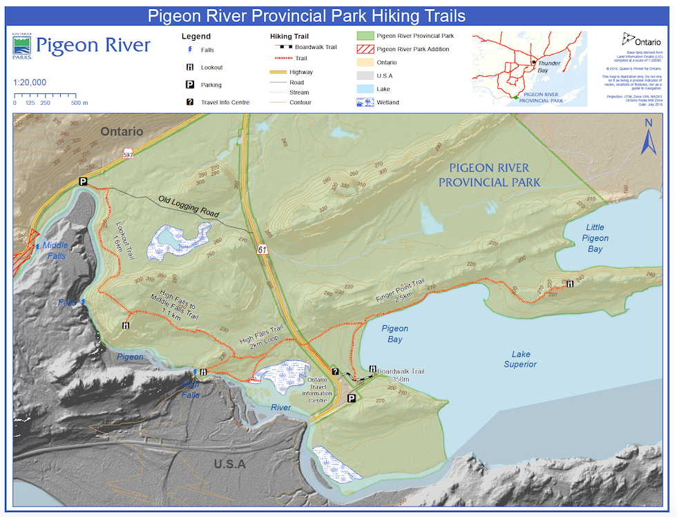 A map of the Canadian hiking trail that Jack checked out on Sunday