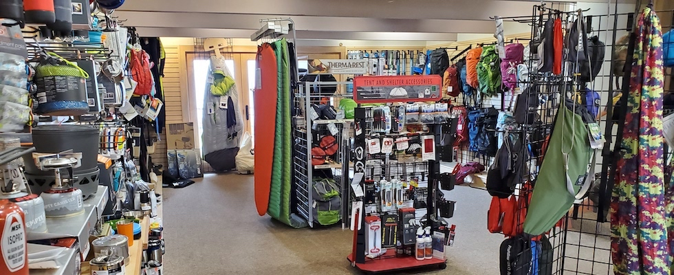 Picture of some of the outdoor gear available at Stone Harbor Wilderness Supply