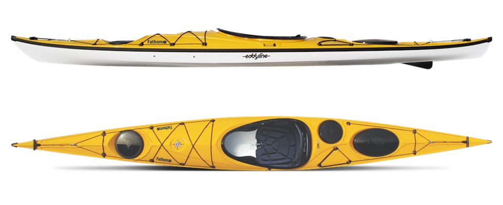 Top and side view of yellow Eddlyline Fathom LV kayak