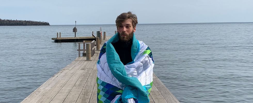 Picture of Ty at the dock at Grand Portage